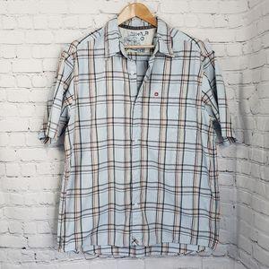 Quicksilver Mens Blue Plaid Button Up Short Sleeve Shirt Casual